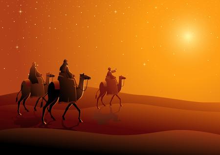 Bijbelse vectorillustratiereeks, drie wijze mannen, reis naar Bethlehem