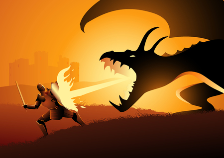 Vector illustration of a knight fighting a dragon. Risk, courage, leadership concept
