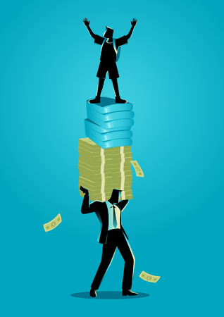 Vector illustration of businessman as a father carrying money, books and his child. Education expenses and resposibility concept
