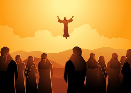 Série d'illustrations vectorielles bibliques, l'ascension de Jésus