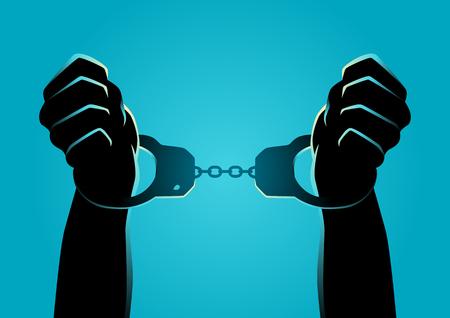 Illustration de la silhouette des mains menottées