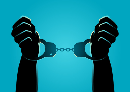 Silhouette illustration of hands in handcuffs