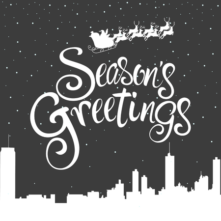 Script font type Season's Greetings for greeting card, Santa Claus flying on the cityscape during winter 向量圖像