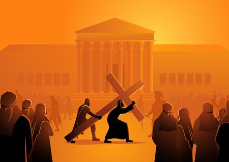 Illustration vectorielle biblique du chemin de croix ou du chemin de croix, deuxième station, Jésus accepte sa croix. Vecteurs