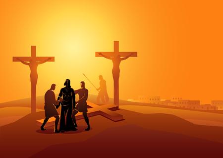 Biblische Vektorillustrationsserie. Kreuzweg oder Kreuzweg, zehnte Station, Jesus wird seiner Gewänder beraubt.