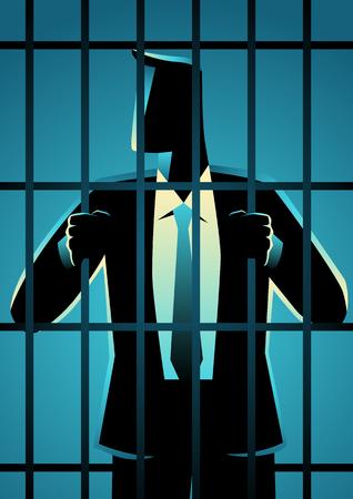 Business-Konzept-Vektor-Illustration eines Geschäftsmannes im Gefängnis. Wirtschaftskrimineller