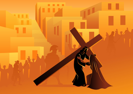 Biblische Vektorillustrationsserie. Kreuzweg oder Kreuzweg, vierte Station, Jesus begegnet seiner Gottesmutter Maria.