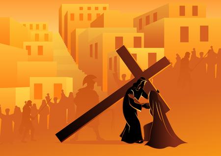 Bijbelse vector illustratie serie. Kruisweg of kruiswegstaties, vierde statie, Jezus ontmoet zijn gezegende moeder, Maria.