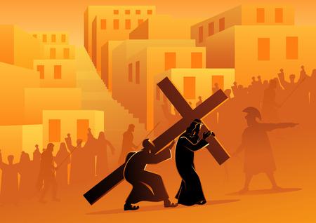 Biblische Vektorillustrationsserie. Kreuzweg oder Kreuzweg, fünfte Station, Simon von Kyrene hilft Jesus sein Kreuz zu tragen. Vektorgrafik