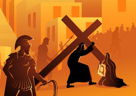 Serie de ilustración vectorial bíblica. Vía Crucis o Estaciones de la Cruz, sexta estación, Verónica enjuga el rostro de Jesús.