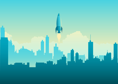 Vector illustration of a rocket launching on cityscape. Startup business concept