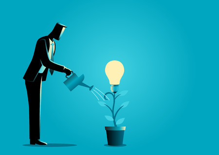 Business concept illustration of a businessman watering young plant with light bulb on it. Creating ideas, business creative idea, business growth concept