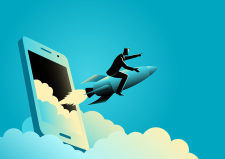 Business concept illustration of a businessman riding a rocket comes out from smart phones' screen. Start up business, business launching concept Vektorové ilustrace
