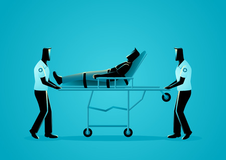 Vector illustration of paramedic team moving injured man on a stretcher