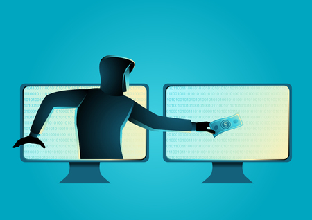 Simple vector illustration of a hacker stealing money, concept of cyber crime, malware, virus, and cyber security Stock Illustratie