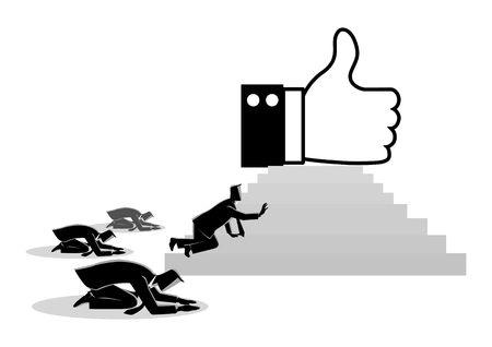 Concept vector illustration of people worshiping thumb up icon. Social media concept, people obsessed with