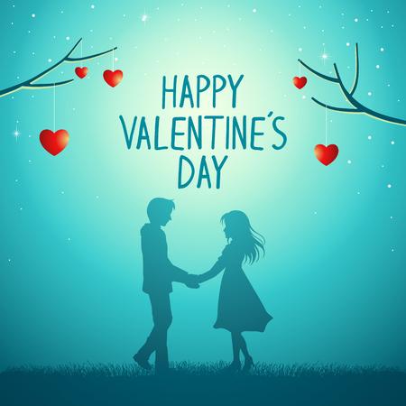 Schattenbildillustration des jungen Paares, das Händchen unter dem Liebesbaum hält, Valentinstagthema
