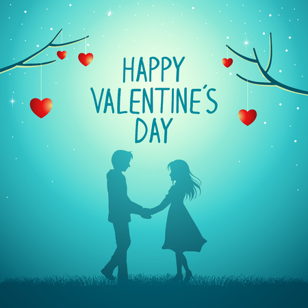 Silhouette illustration of young couple holding hands under the love tree, Valentine day theme Çizim
