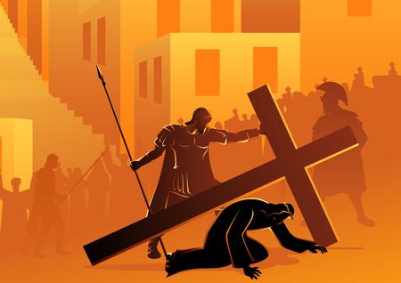 Série d'illustrations vectorielles bibliques. Chemin de Croix ou Stations de la Croix, septième station, Jésus tombe pour la deuxième fois.