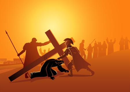 Serie di illustrazioni vettoriali bibliche. Via Crucis o Via Crucis, nona stazione, Gesù cade per la terza volta. Vettoriali