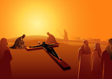Serie di illustrazioni vettoriali bibliche. Via Crucis o Via Crucis, undicesima stazione, Gesù è inchiodato sulla croce.