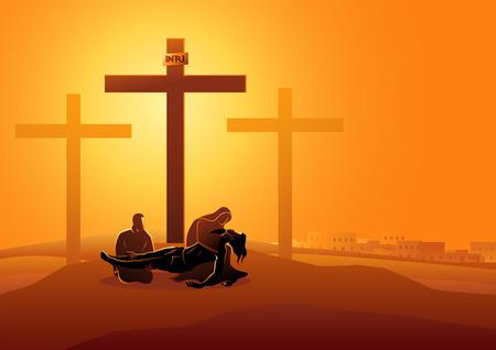 Serie de ilustración vectorial bíblica. Vía Crucis o Estaciones de la Cruz, decimotercera estación, Jesús es bajado de la cruz.