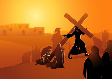 Serie di illustrazioni vettoriali bibliche. Via Crucis o Stazioni della Via Crucis, ottava stazione, Le donne di Gerusalemme piangono per Gesù. Vettoriali