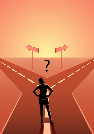 Business concept illustration of a businesswoman choosing which path he should go