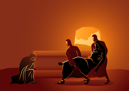Biblical vector illustration series. Way of the Cross or Stations of the Cross, fourteenth, Jesus is placed in the tomb. 스톡 콘텐츠 - 117626949