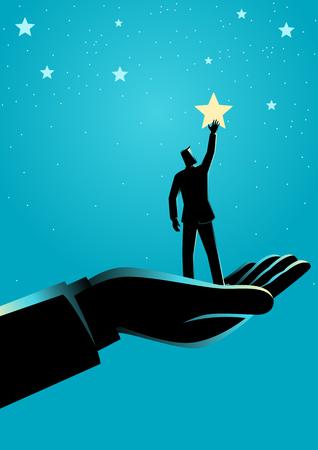Bedrijfsconceptenillustratie van gigantische hand die een zakenman helpt om naar de sterren te reiken