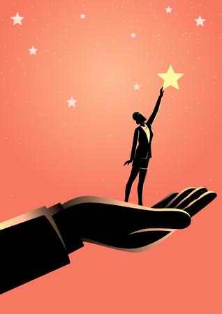 Bedrijfsconceptenillustratie van gigantische hand die een zakenvrouw helpt om naar de sterren te reiken