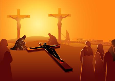 Bijbelse vectorillustratieserie. Kruisweg of kruisweg, elfde station, Jezus wordt aan het kruis genageld.