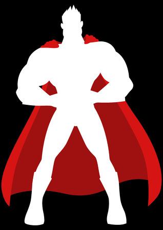 Cartoon illustration of a superhero isolated on black background Illustration