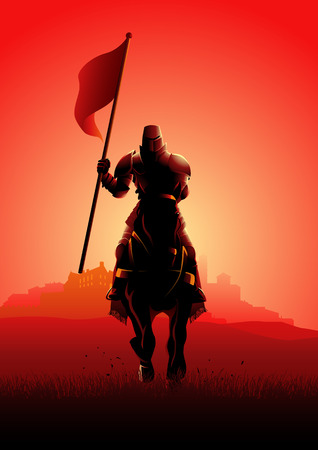Vector illustration of a medieval knight on horse carrying a flag on dramatic scene Standard-Bild - 117621773