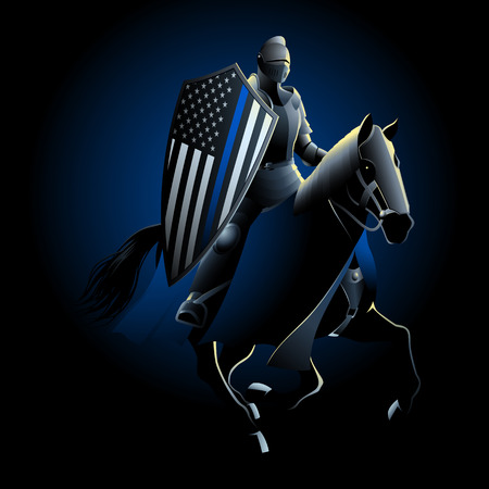 Mounted knight carrying shield with thin blue line USA flag. The Thin Blue Line is a phrase and symbol used by law enforcement, to symbolize solidarity and as the protectors of the community.