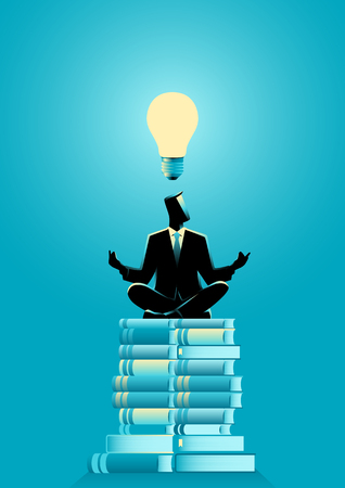 Business concept vector illustration of a businessman doing yoga on books pile with light bulb on his head. Ideas, learning, knowledge concept