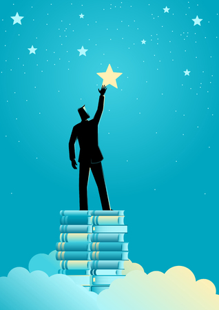 Business concept illustration of a businessman reach out for the stars by using books as the platform Stock Illustratie