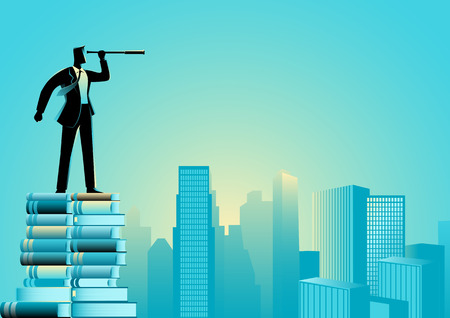 Business concept illustration of a businessman using telescope standing on pile of books looking at cityscape Vektorgrafik
