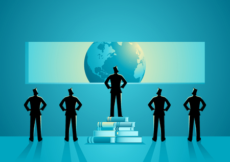 Concept illustration of men with different point of view about the world, man standing on pile of books can see clearest, knowledge, education concept Vector Illustratie