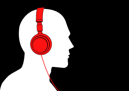 Vector illustration of a man listening to music with headphone