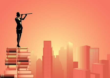 Conceptual illustration of a woman using telescope standing on pile of books looking at cityscape Vector Illustratie