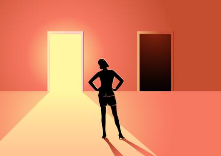 Illustrazione del concetto di business di una donna in dubbio, che deve scegliere tra porta luminosa o scura