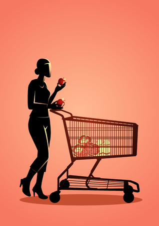 Vector illustration of a woman with shopping trolly Stock Vector - 118592759