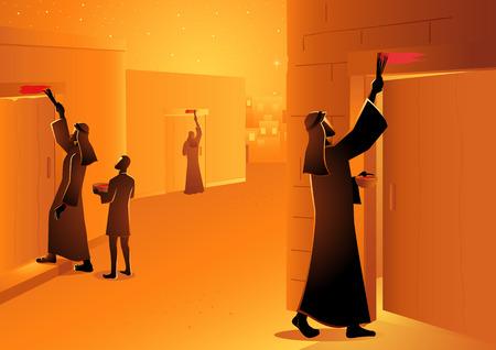 Serie de ilustraciones vectoriales bíblicas, los israelitas marcaron el poste de la puerta durante la Pascua