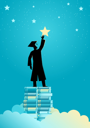 Concept illustration of a man in graduation toga reach out for the stars by using books as the platform Иллюстрация