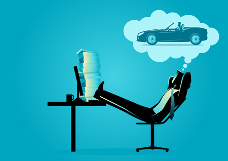 Business concept vector illustration of a businessman daydreaming about driving a sport car Ilustração