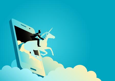 Ilustracja wektorowa koncepcji biznesowej biznesmena jadącego na jednorożcu wychodzi z telefonu komórkowego