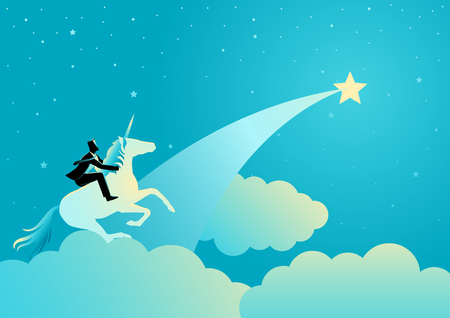 Business concept vector illustration of a businessman riding a unicorn running towards the star