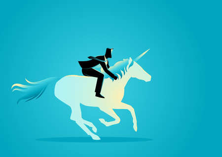 Business concept vector illustration of a businessman riding a unicorn