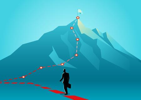 Concept d'entreprise illustration vectorielle d'un homme d'affaires suivant les lignes rouges qui mènent au sommet d'une montagne